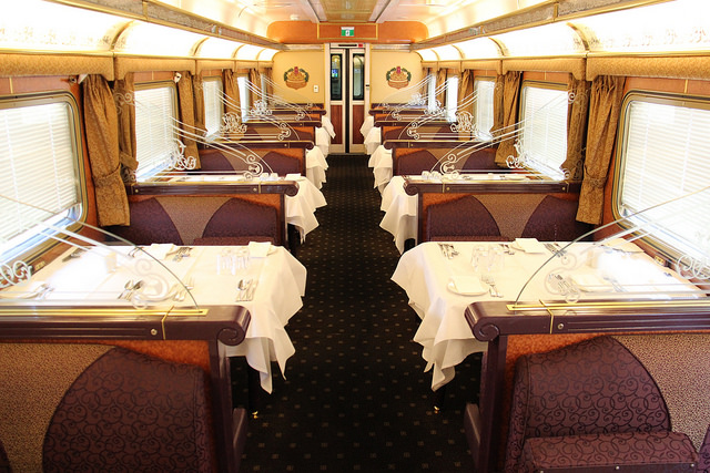 Embark on a Train journey accross south Australia first class dining cabin